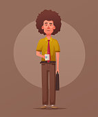 Funny nerd. Smart guy. Cartoon vector illustration. Character design. Person with coffee cup. Office worker