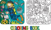 Coloring picture or coloring book of funny oceanologist or oceanographer, or diver in scuba gear near the fishes. Profession ABC series. Children vector illustration. Letter O