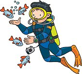 Funny diver or oceanologist or oceanographer, in scuba gear with camera near the fishes. Profession ABC series. Children vector illustration.