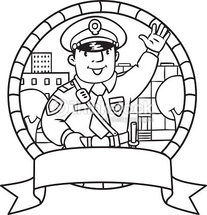 Funny Policeman Coloring Book Or Emblem stock vector
