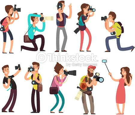 Funny professional photographer with camera taking photo in different poses vector cartoon characters set : stock vector