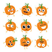 Funny pumpkin - vector isolated cartoon emoticons. Cute emoji set with a nice character. A collection of angry, surprised, happy, cheerful, crazy, laughing, sad vegetables on white background