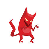 Vector cartoon image of funny red devil with horns and tail standing and smiling on a white background. Vector cartoon illustration of devil.