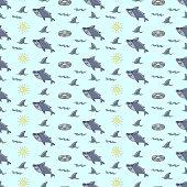 Funny shark seamless pattern, drawing, cartoon, doodles