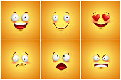 Funny smileys vector poster wallpaper backgrounds set with different facial expressions and emotions. Vector illustration.