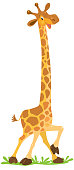 Childrens vector illustration of Cheerful funny giraffe