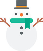 Funny snowman in hat vector flat design illustration isolated on white background.