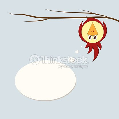 A Funny Stylized Bird Parrot Or Sparrow On A Tree Branch Hangs
