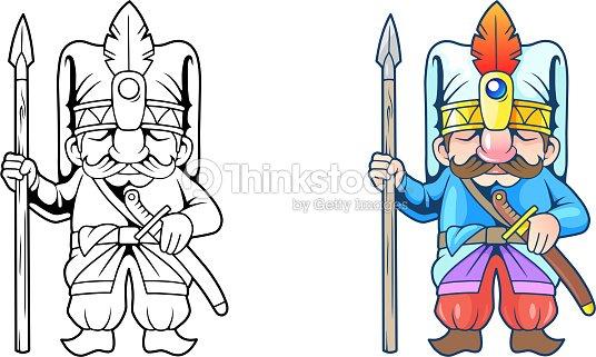 Soldado Turco Divertido Ilustración Libro Para Colorear Arte ...