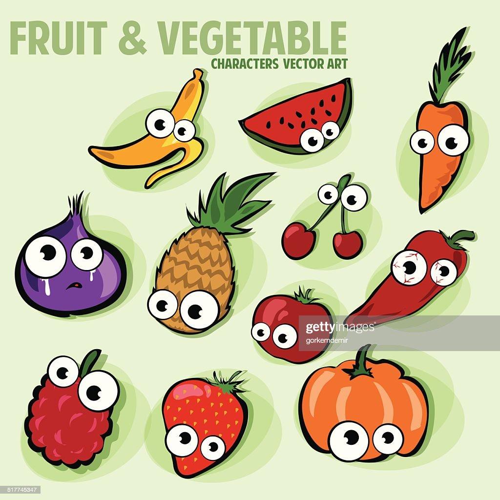 funny various cartoon fruits and veggies characters vector art