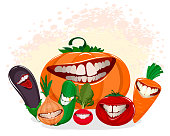 Vector illustration of funny vegetables on white
