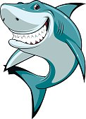 Vector illustration, funny toothy white shark, isolated on white background