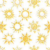 Funny yellow summer sun vector seamless pattern. Background with sun sketch, illustration of natural cartoon hot sun