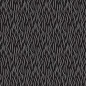 Fur texture wild animal skin black white seamless pattern. Vector illustration.