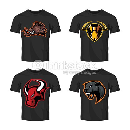 Furious bull, panther, mammoth and hornet sport vector emblem concept set isolated on white.