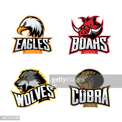 Furious cobra, wolf, eagle and boar sport vector logo concept set isolated on white background. : Arte vettoriale
