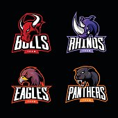Furious rhino, bull, eagle and panther sport vector logo concept set isolated on dark background.