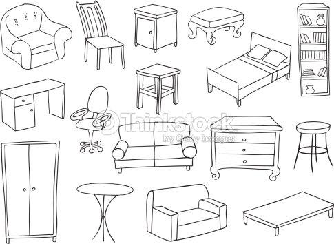 Furniture and decoration vector set vector art thinkstock for Dessiner votre maison