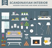 Modern furniture items and home accessories for living room design. Create your interior in trendy scandinavian style. Vector set.