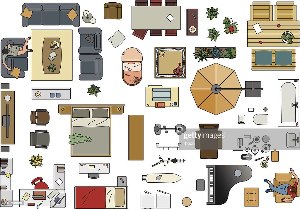 Furniture floor plan in color vector art getty images Bedroom furniture layout plan