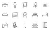 Furniture outline doodle icon set for print, web, mobile and infographics. Hand drawn furniture vector sketch illustration set isolated on white background.