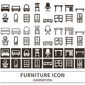 3 variations of the furniture icon.