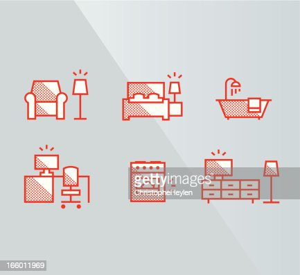 Furniture Icons Interior Vector Art