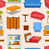 Furniture and home decor icon seamless pattern vector illustration.