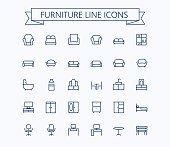 Furniture line mini icons.Editable stroke. 24x24 grid. Pixel Perfect. eps 10