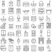 Room modern interior indoor furniture linear icons set illustration vector