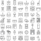Room modern interior indoor furniture linear icons set illustration vector