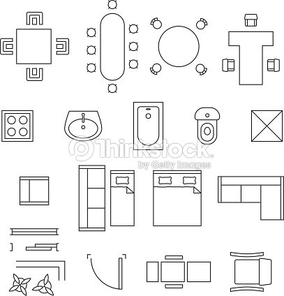 Furniture Linear Vector Symbols Floor Plan Icons Set