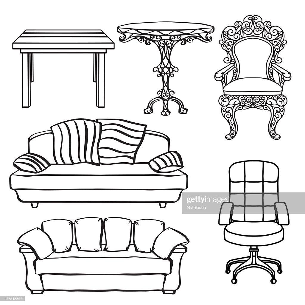 Furniture Set, Armchair, Sofa, Table, Chair, Throne : Vector Art