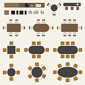 Icons set of interior elements, top view. Furniture and elements for living room, kitchen and office space.