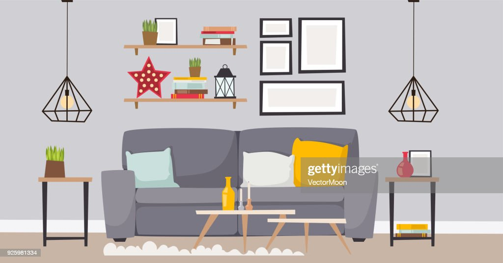 Furniture Vector Room Interior Design Apartment Home Decor Concept Flat  Contemporary Furniture Architecture Indoor Elements Illustration