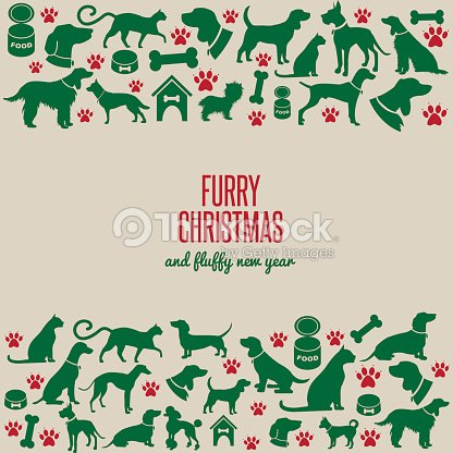 furry christmas and fluffy new year vector art - Furry Christmas