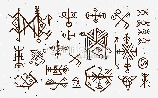 Futhark Norse Islandic And Viking Runes Set Magic Hand Draw Symbols