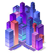 Future 3d futuristic isometric city from smart business technology, digital modern concept background, street design building on an urban house of cityscape.
