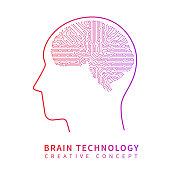 Future artificial intelligence technology. Mechanical brain creative idea vector concept. Artificial brain techology science illustration