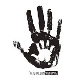 Future in your hands social illustration. Handprint of an adult and a child. Vector black and white illustration. Parenting creative design.
