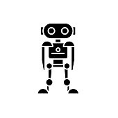 Future robot black icon, concept vector sign on isolated background. Future robot illustration, symbol