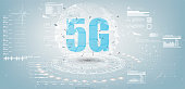 Future Technology Display Design. 5g Internet Connection Speed Sign Over Futuristic Low Poly Mesh Wireframe On white Background