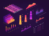 Futuristic 3d isometric data graphic, business charts, statistics diagram and infographic vector elements. Chart and graphics, growth progress pyramidal illustration