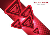Futuristic bright glowing arrows triangles, techno background with light effects, abstract 3d technology lines on white background. Background, cover, layout, magazine, brochure, poster, website, busi