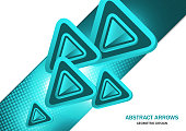 Futuristic bright glowing arrows triangles, techno background with light effects, abstract 3d technology lines on white background. Background, cover, layout, magazine, brochure, poster, website
