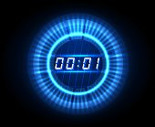 Futuristic countdown clock. Digital electronic timer concept vector illustration