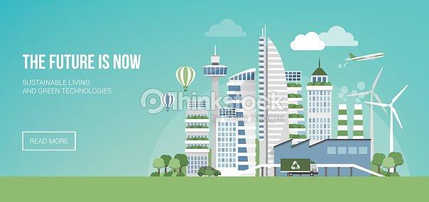 Futuristic Eco City Vector Art