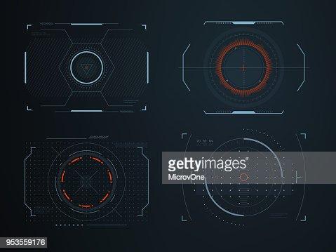 Vista de cabina futurista casco hud pantallas. Brillante representación visual de la tecnología del vehículo. Paneles de interfaz interactiva control vectores : Arte vectorial