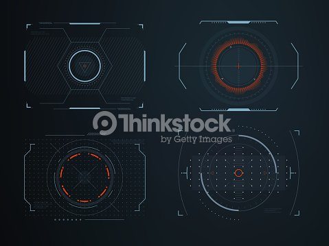 Futuristic helmet hud screens cockpit view. Glowing visual display vehicle technology. Interactive interface control vector panels : stock vector