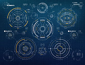 Futuristic Sci-Fi technology vector circle elements for HUD user interface, infographics, loading bars, background etc.